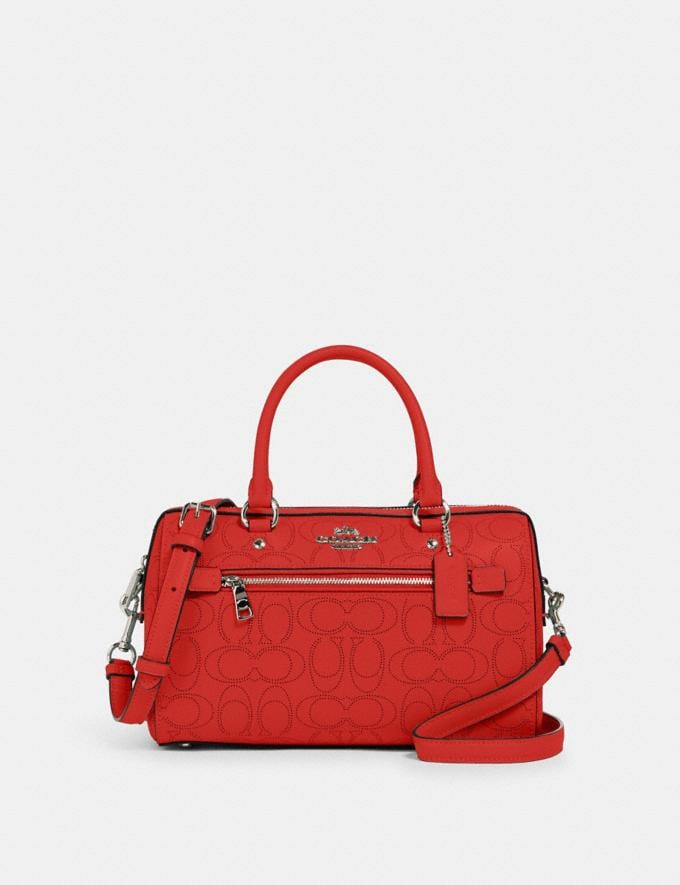 Coach Rowan Satchel in Signature Leather Qb/Miami Red