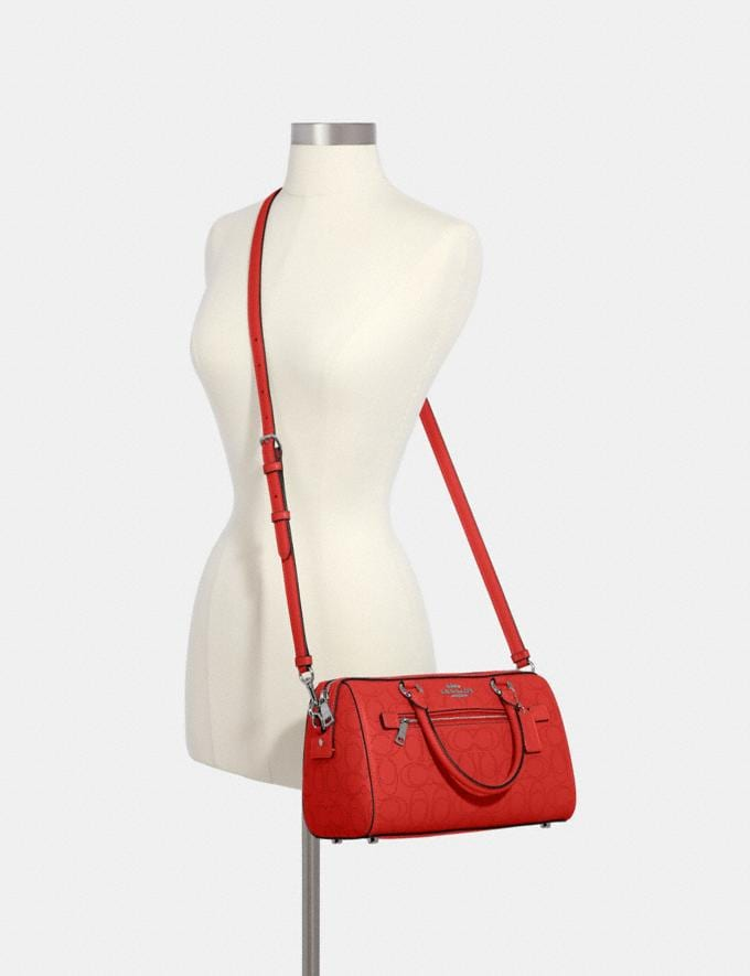 Coach Rowan Satchel in Signature Leather Qb/Miami Red  Alternate View 2