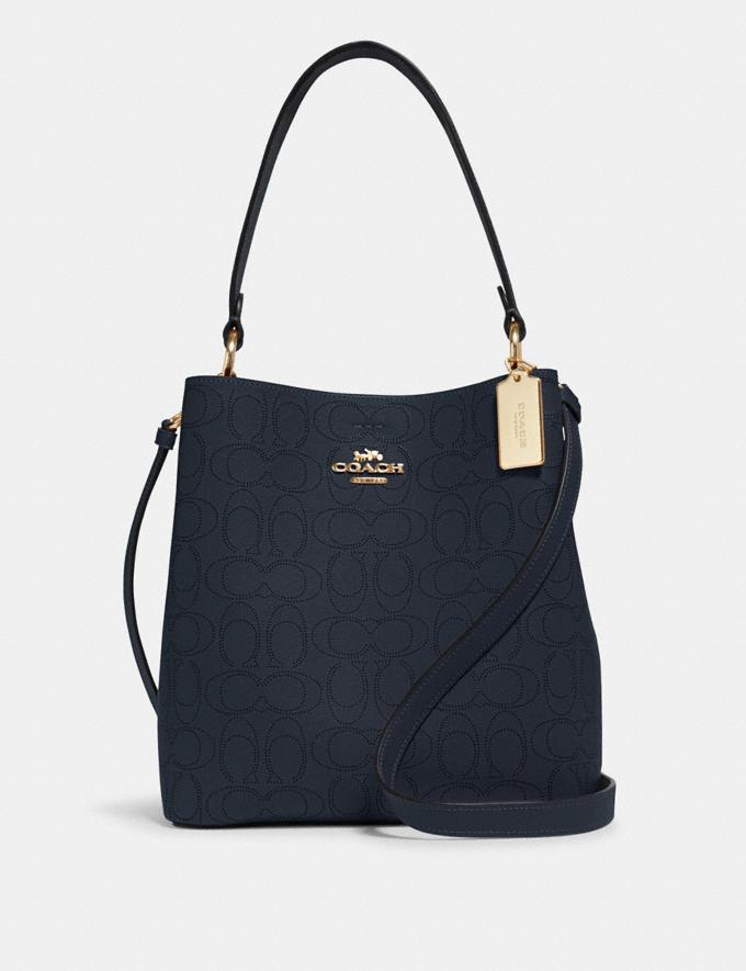 Coach Town Bucket Bag in Signature Leather Im/Midnight/Rose