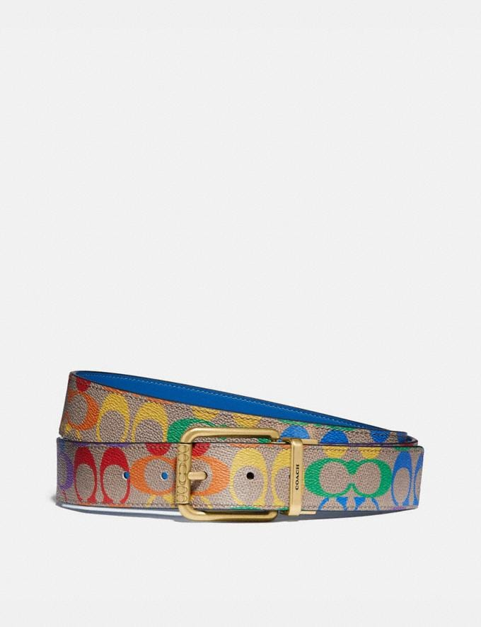 Coach Roller Buckle Cut-To-Size Reversible Belt in Rainbow Signature Canvas, 38mm Multi Men Accessories Belts