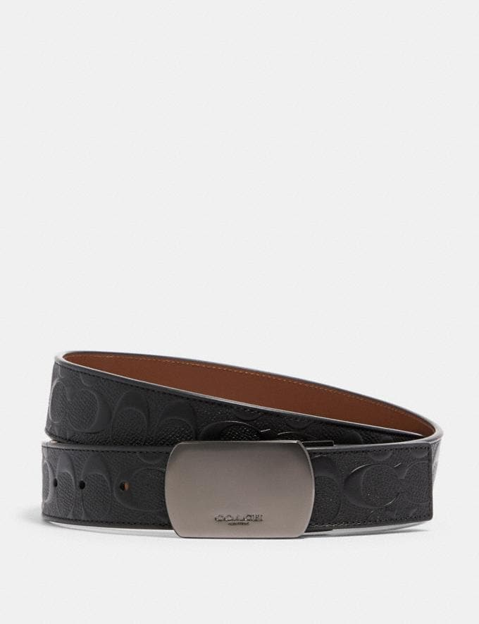 Coach Plaque Buckle Cut-To-Size Reversible Belt, 38mm Qb/Black/Dark Saddle