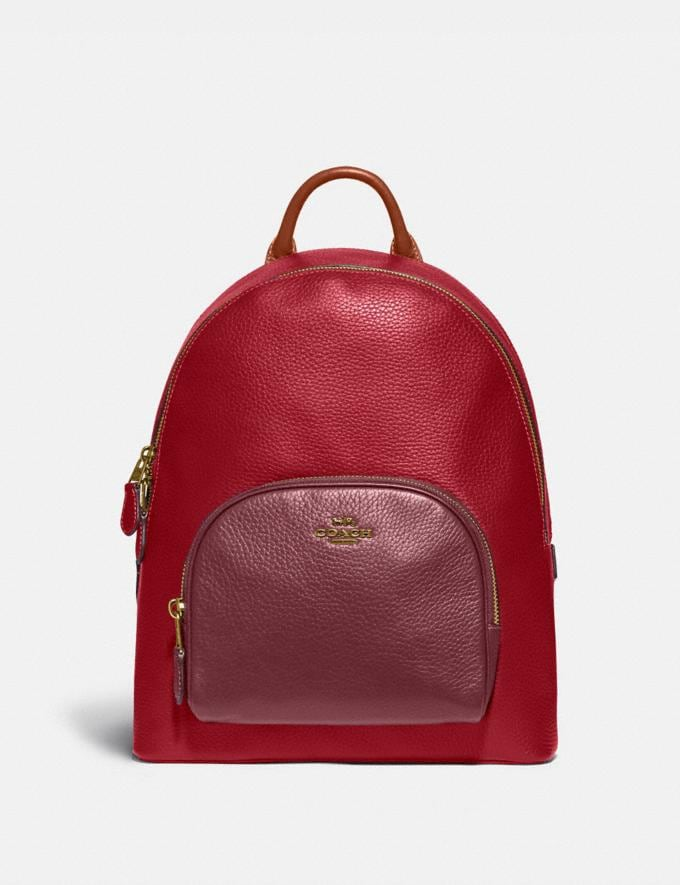 Coach Carrie Backpack in Colorblock Brass/Red Apple Multi Women Bags Backpacks