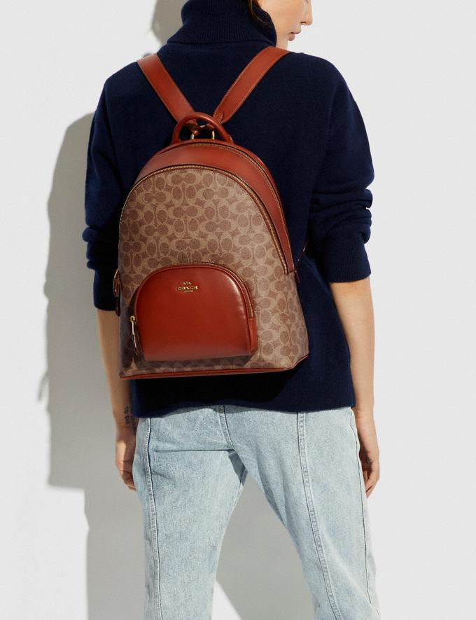 Coach Carrie Backpack in Signature Canvas B4/Tan Rust Women Bags Backpacks Alternate View 3