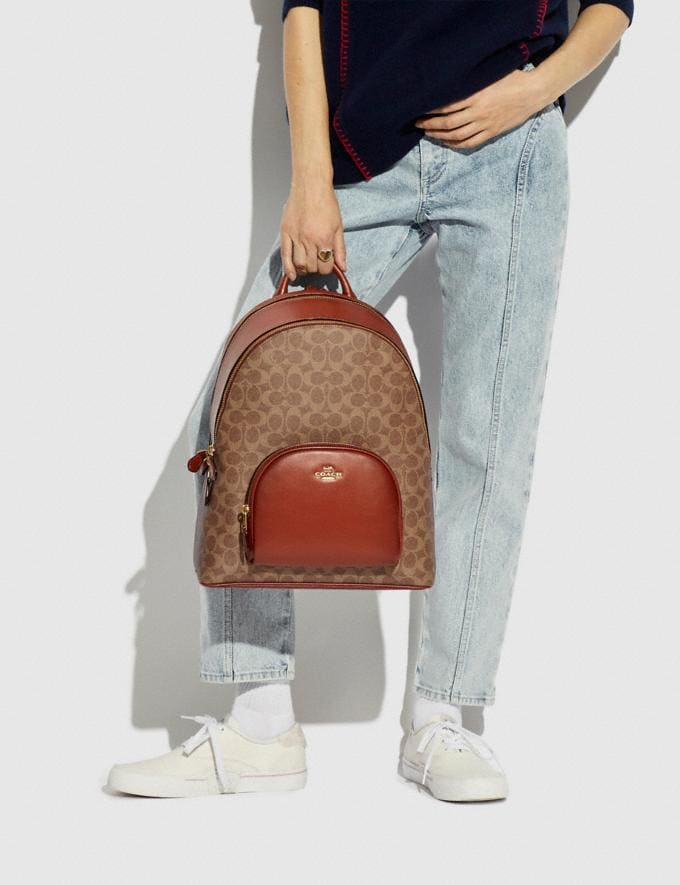Coach Carrie Backpack in Signature Canvas B4/Tan Rust Women Bags Backpacks Alternate View 4