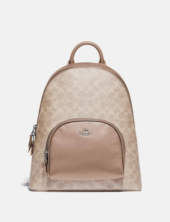 Coach Carrie Backpack in Signature Canvas Lh/Sand Taupe Women Bags Backpacks
