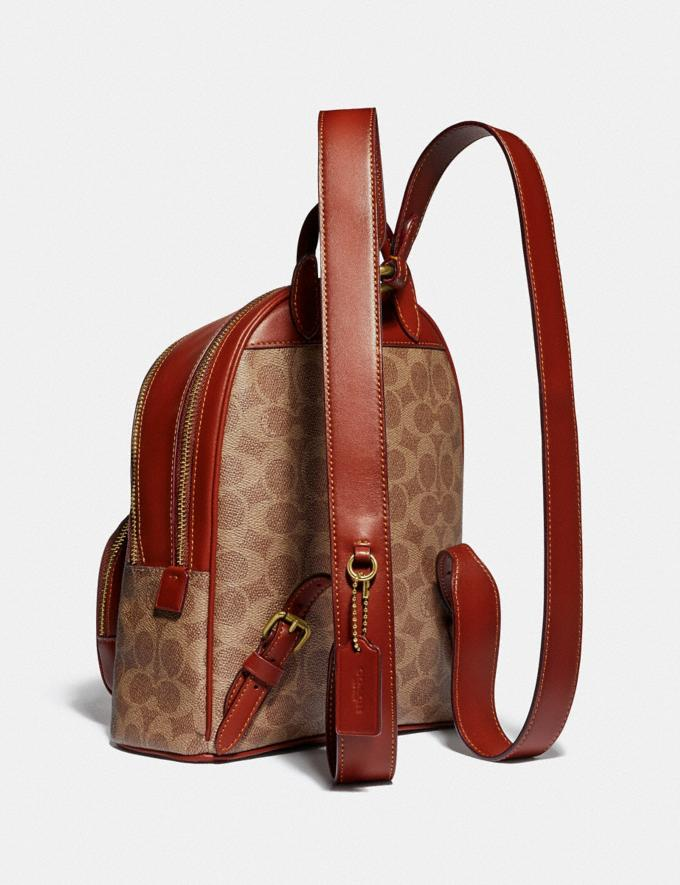 Coach Carrie Backpack 23 in Signature Canvas Brass/Tan Rust Women Bags Backpacks Alternate View 1