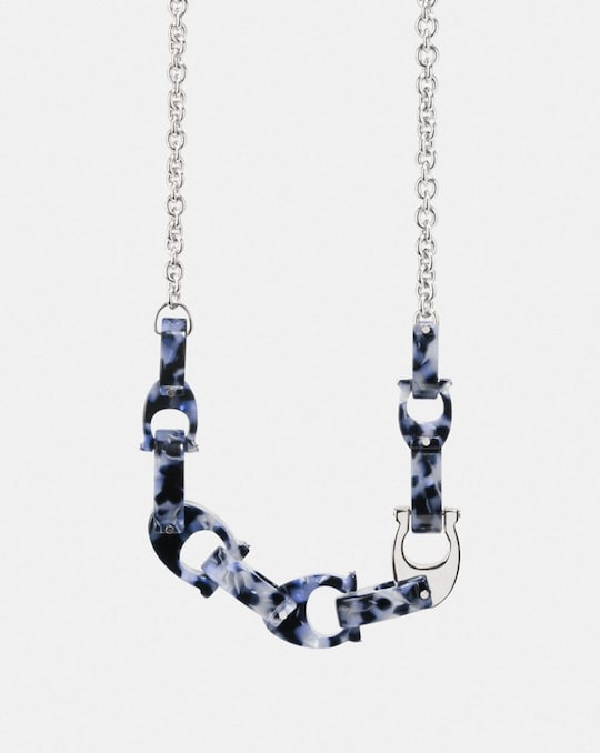 CHUNKY SCULPTED SIGNATURE CHAIN STATEMENT NECKLACE