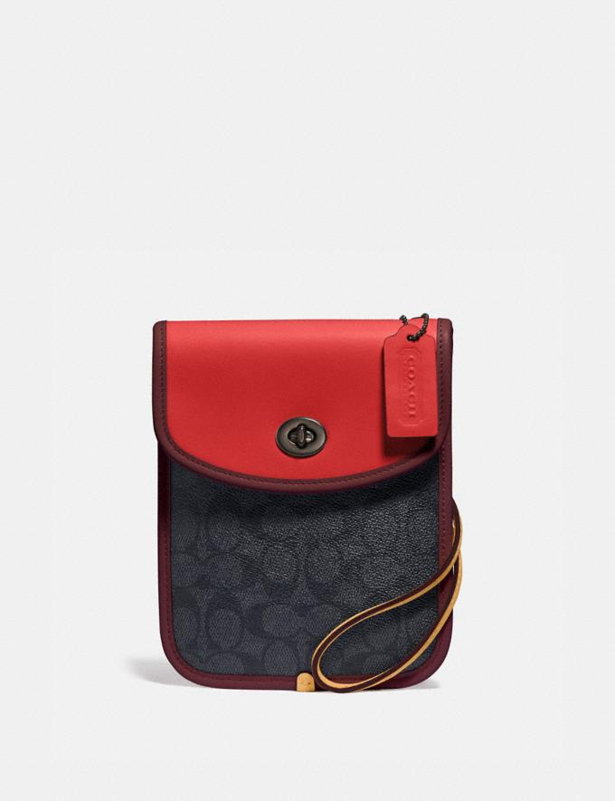 Coach Turnlock Flat Crossbody in Signature Canvas Charcoal/Carmine/Cranberry Red Men Accessories Tech & Travel