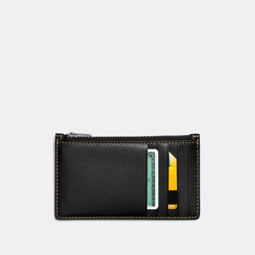 Coach Zip Card Case With Embossed Space Alternate View 1