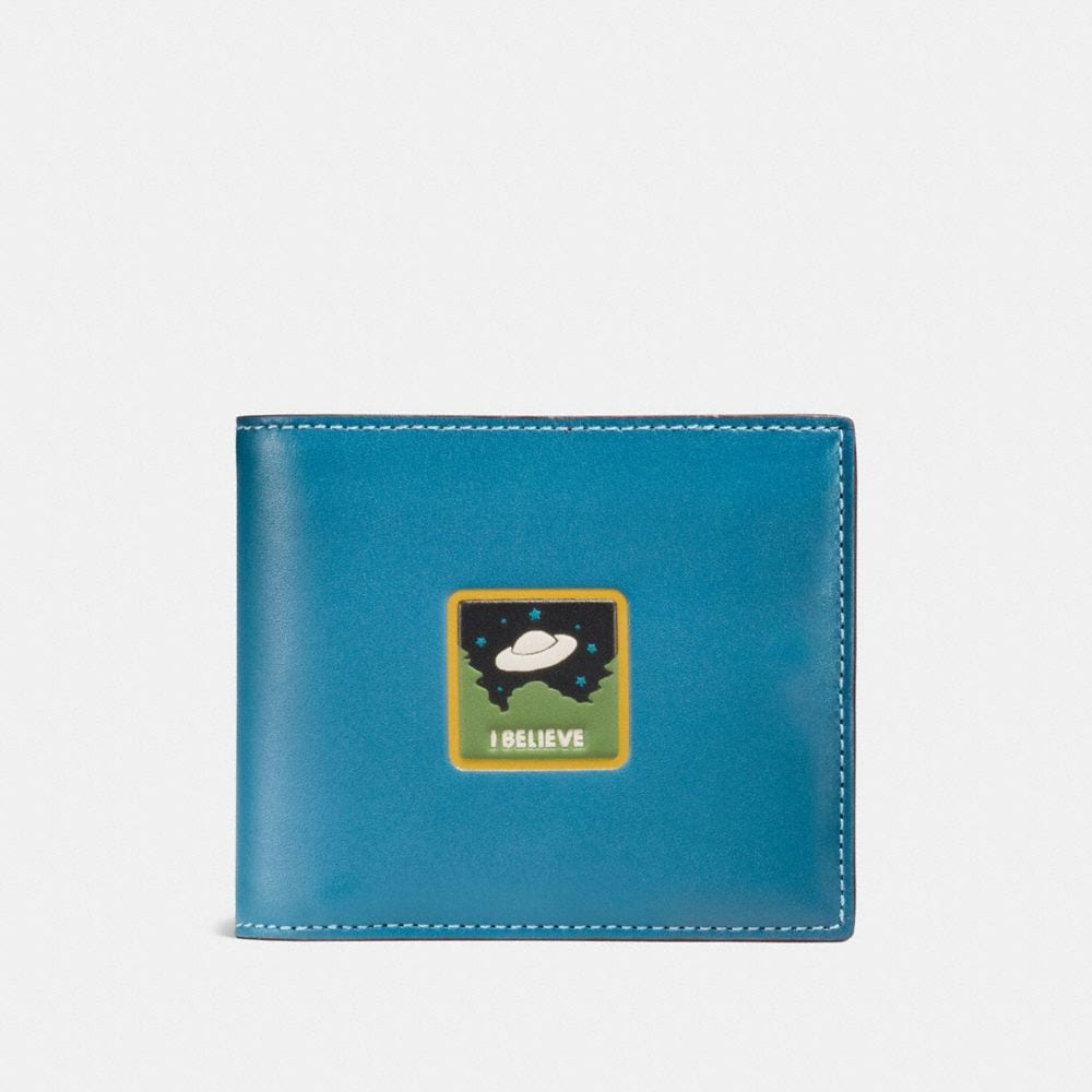 coach premium outlet online qmlu  3-IN-1 WALLET IN GLOVETANNED LEATHER WITH UFO BELIEVE