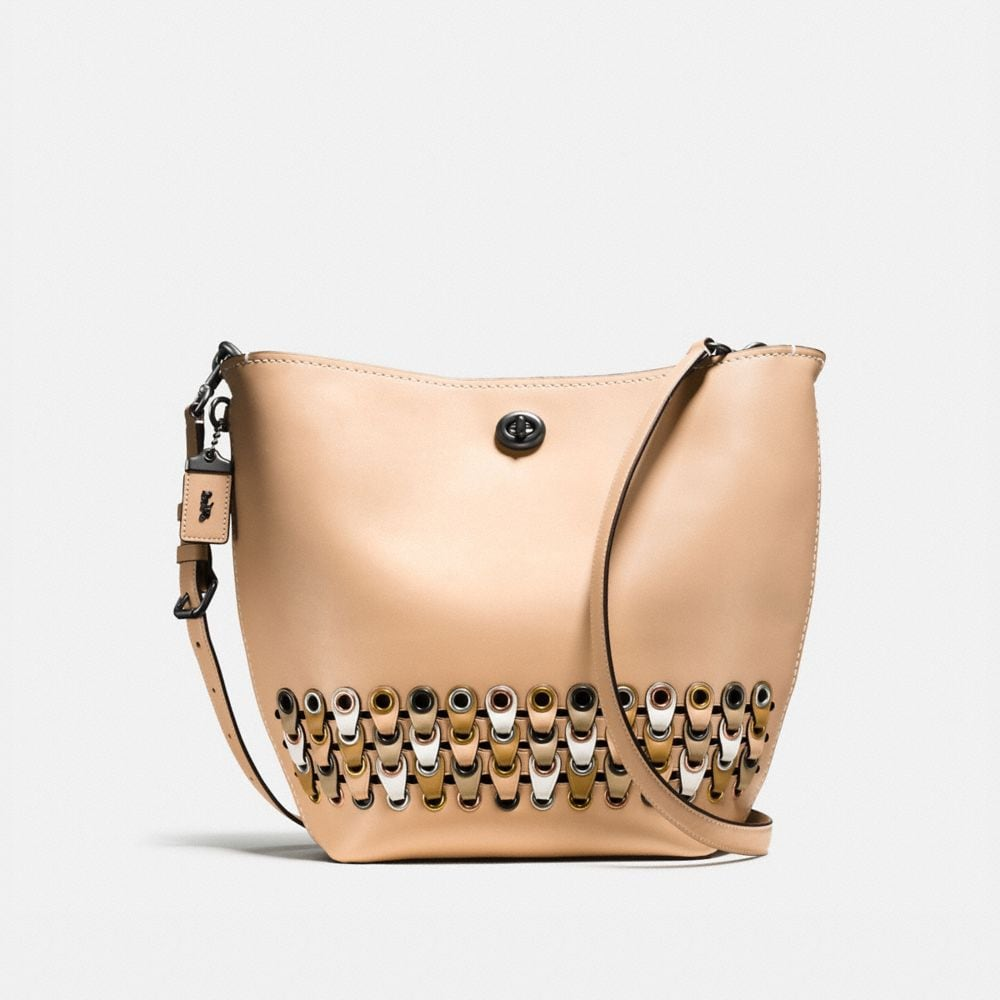 Duffle Shoulder Bag With Coach Link Detail in Glovetanned Leather