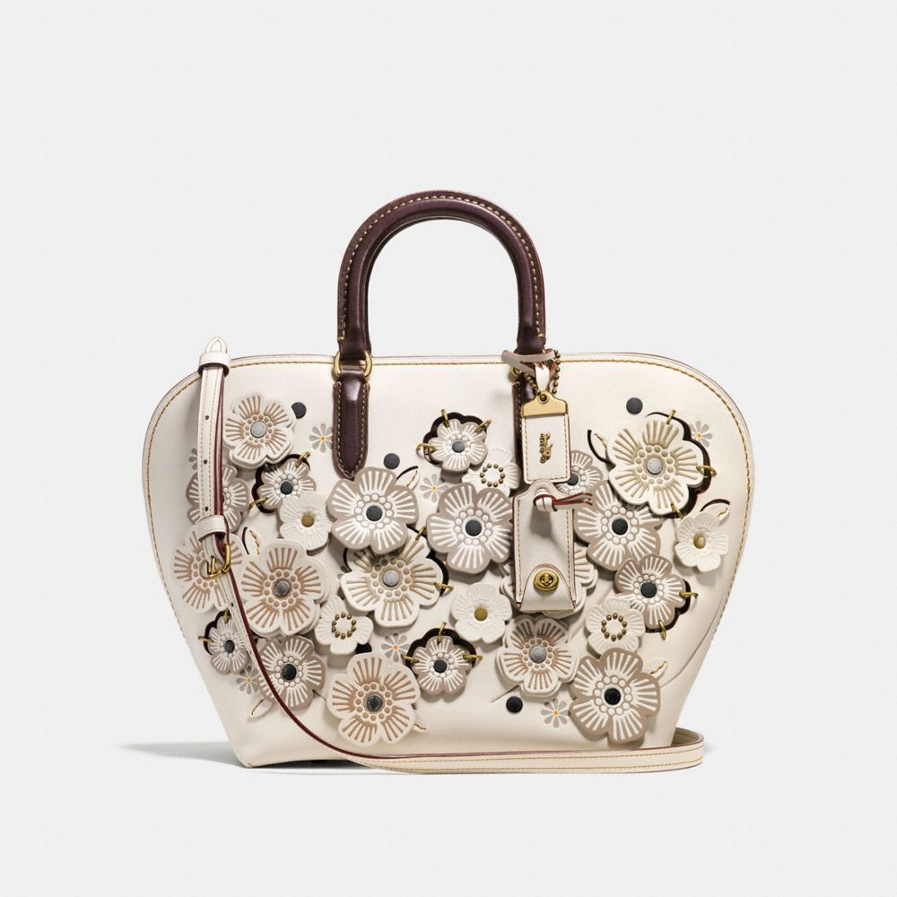 DAKOTAH SATCHEL WITH LINKED TEA ROSE