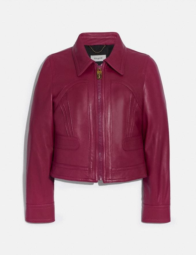 Coach Cropped Leather Blouson Tweed Berry