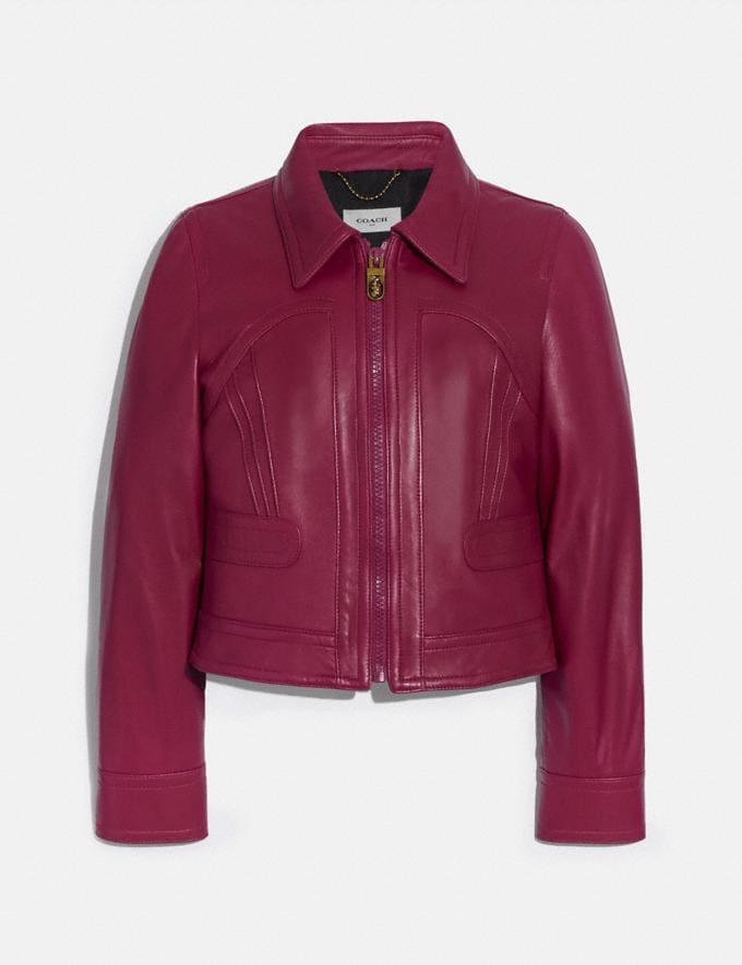 Coach Cropped Leather Blouson Tweed Berry Women Ready-to-Wear Jackets & Outerwear