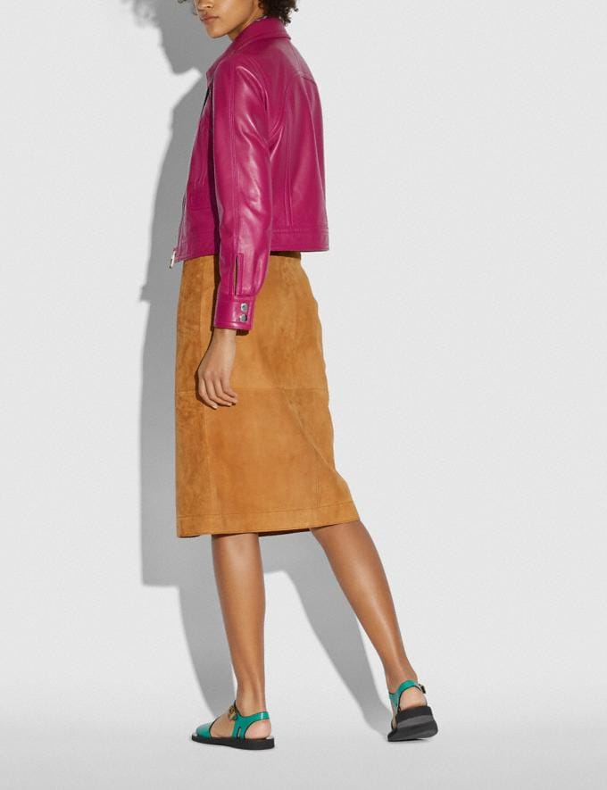 Coach Cropped Leather Blouson Tweed Berry New Women's New Arrivals Ready-to-Wear Alternate View 2