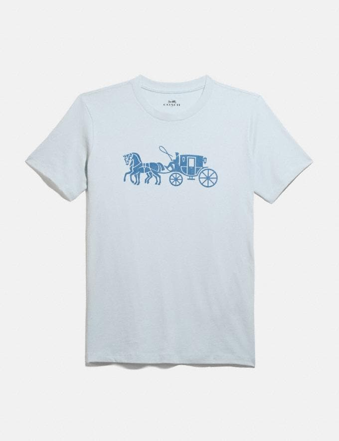 Coach Horse and Carriage T-Shirt Baby Blue Women Ready-to-Wear Tops & T-shirts
