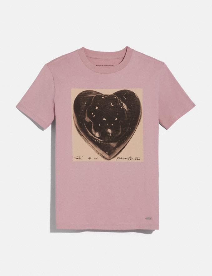Coach Coach X Richard Bernstein Black Jello Heart T-Shirt Baby Pink New Women's New Arrivals Ready-to-Wear