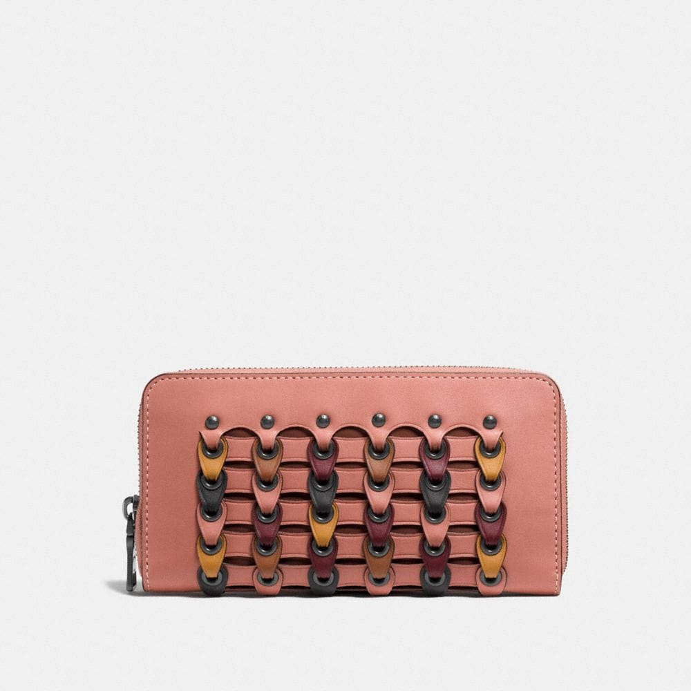ACCORDION ZIP WALLET WITH COLORBLOCK COACH LINK