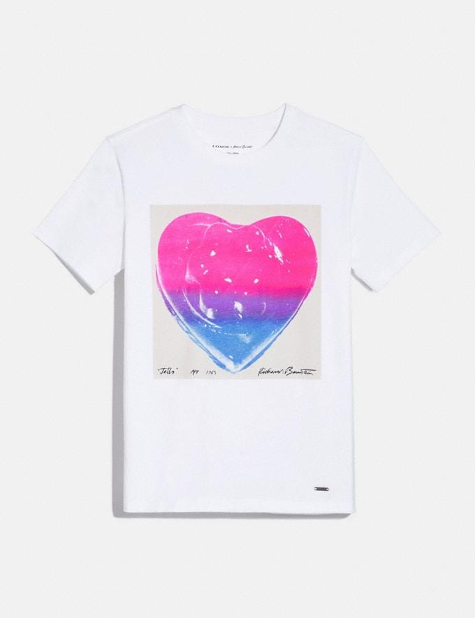 Coach Coach X Richard Bernstein Pink and Blue Jello Heart T-Shirt White