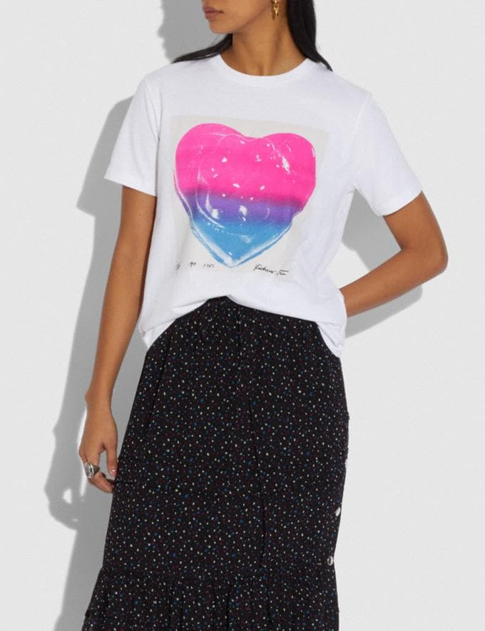 Coach Coach X Richard Bernstein Pink and Blue Jello Heart T-Shirt White Women Ready-to-Wear Tops & T-shirts Alternate View 1