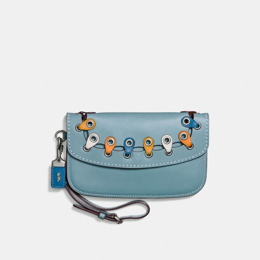 clutch with colorblock coach link detail