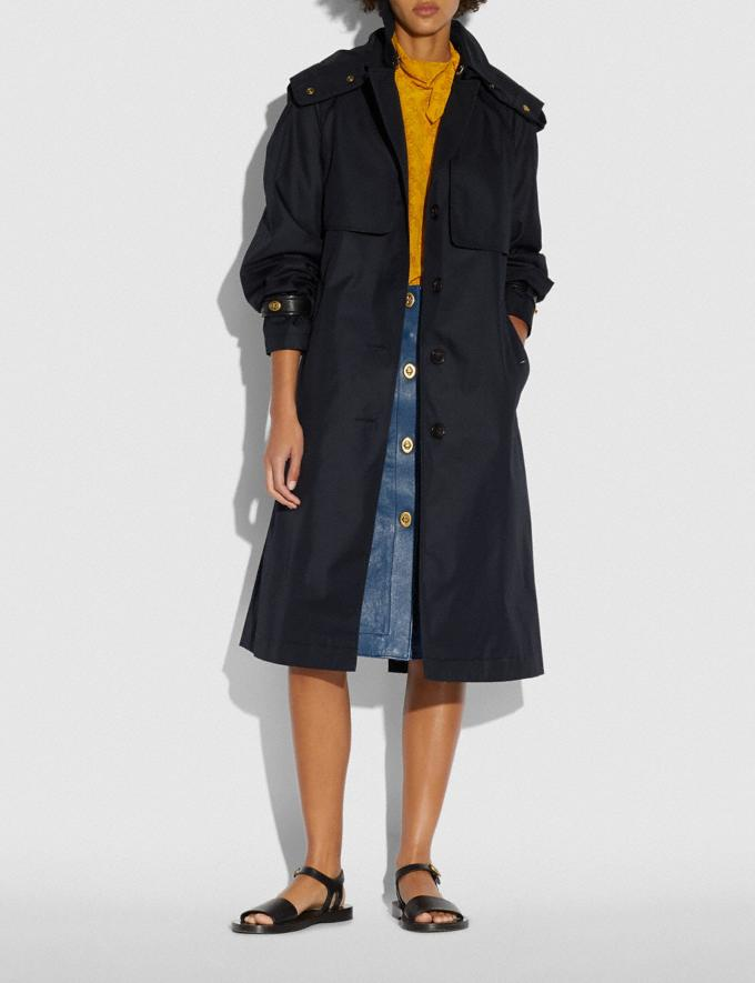 Coach Hooded Trench Raven Blue New Women's New Arrivals Ready-to-Wear Alternate View 1