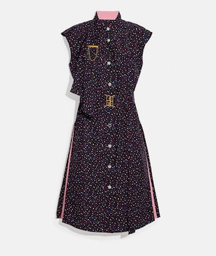 DOT SLEEVELESS DRESS WITH BELT