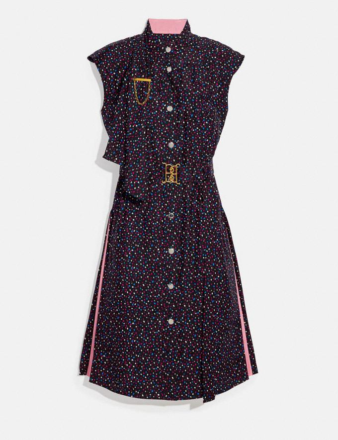 Coach Dot Sleeveless Dress With Belt Black/Blue Women Ready-to-Wear Dresses