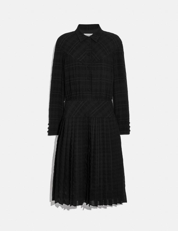 Coach Plaid Pleated Shirt Dress Black New Women's New Arrivals