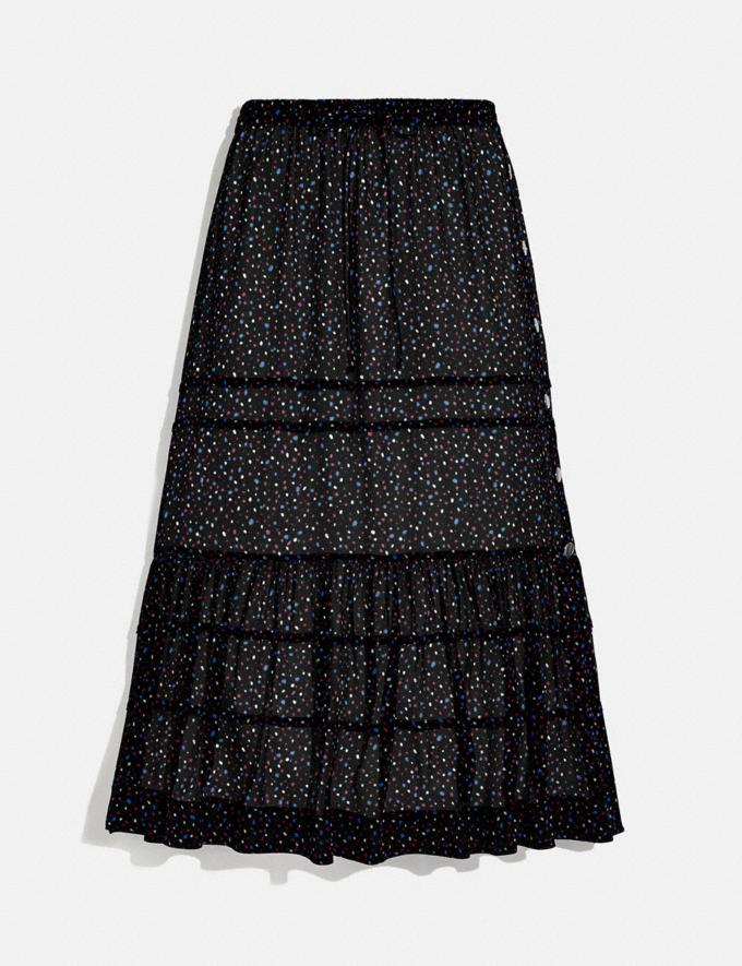 Coach Tiered Skirt With Snaps Black/Blue New Women's New Arrivals Ready-to-Wear