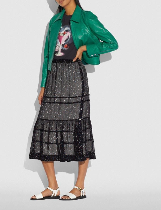 Coach Tiered Skirt With Snaps Black/Blue New Women's New Arrivals Ready-to-Wear Alternate View 1