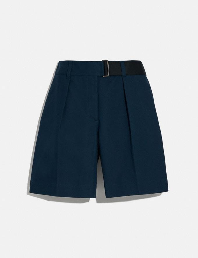 Coach Belted Shorts Navy New Women's New Arrivals Ready-to-Wear