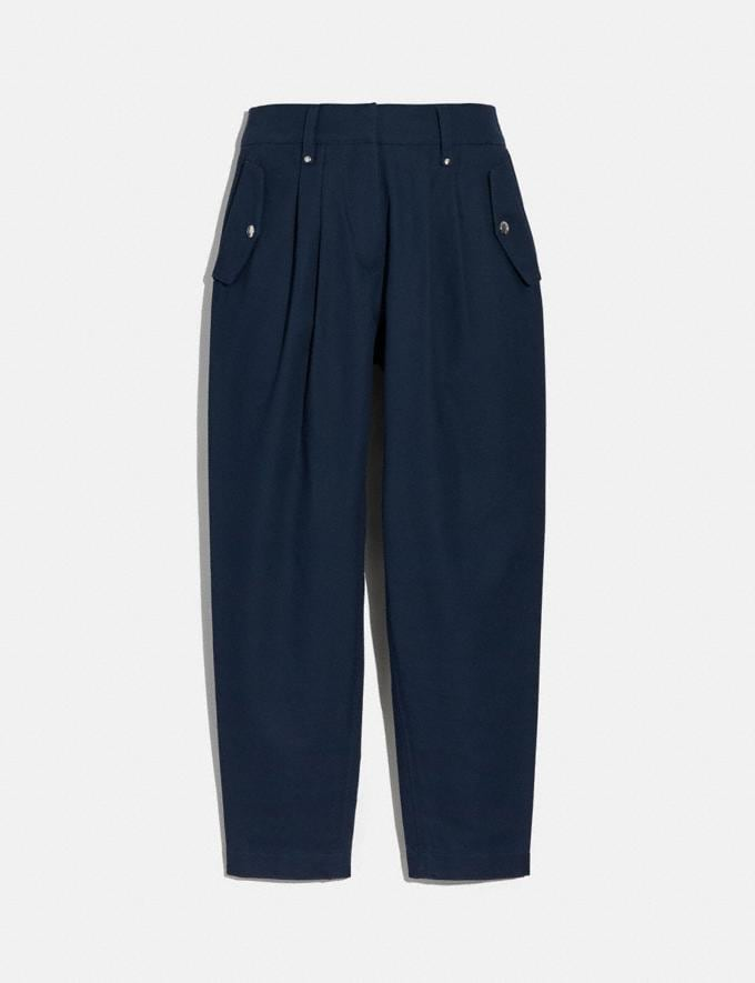 Coach Pleated Trousers Navy Women Ready-to-Wear Bottoms
