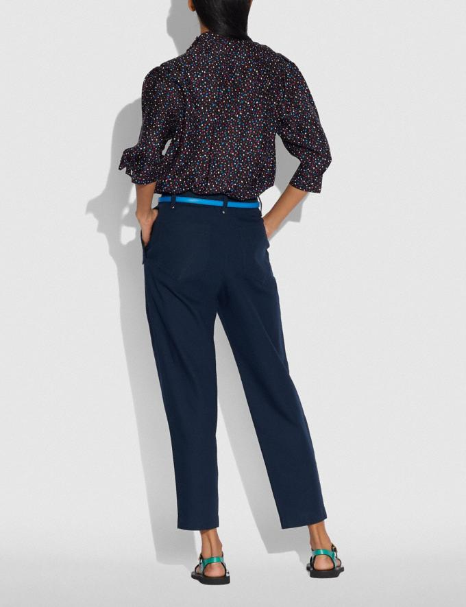 Coach Pleated Trousers Navy Women Ready-to-Wear Bottoms Alternate View 2