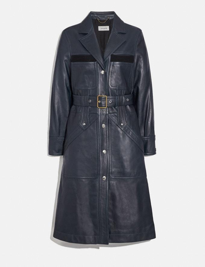 Coach Sporty Leather Trench Navy Women Ready-to-Wear Jackets & Outerwear