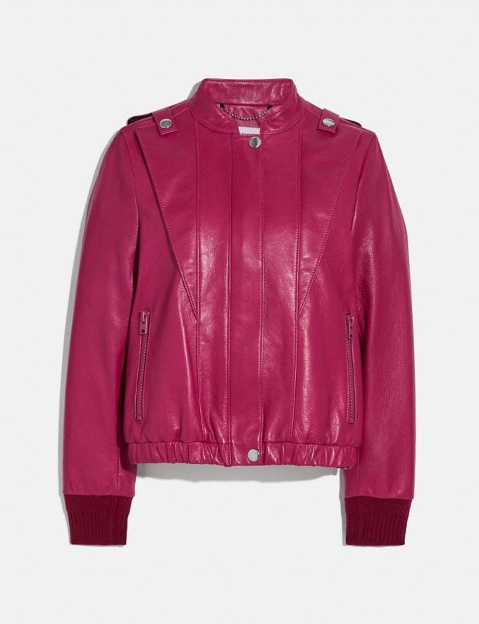 Coach Satin Leather Blouson Tweed Berry New Women's New Arrivals