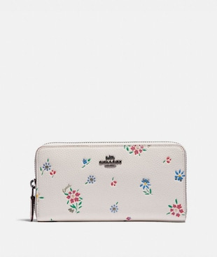 ACCORDION ZIP WALLET WITH WILDFLOWER PRINT