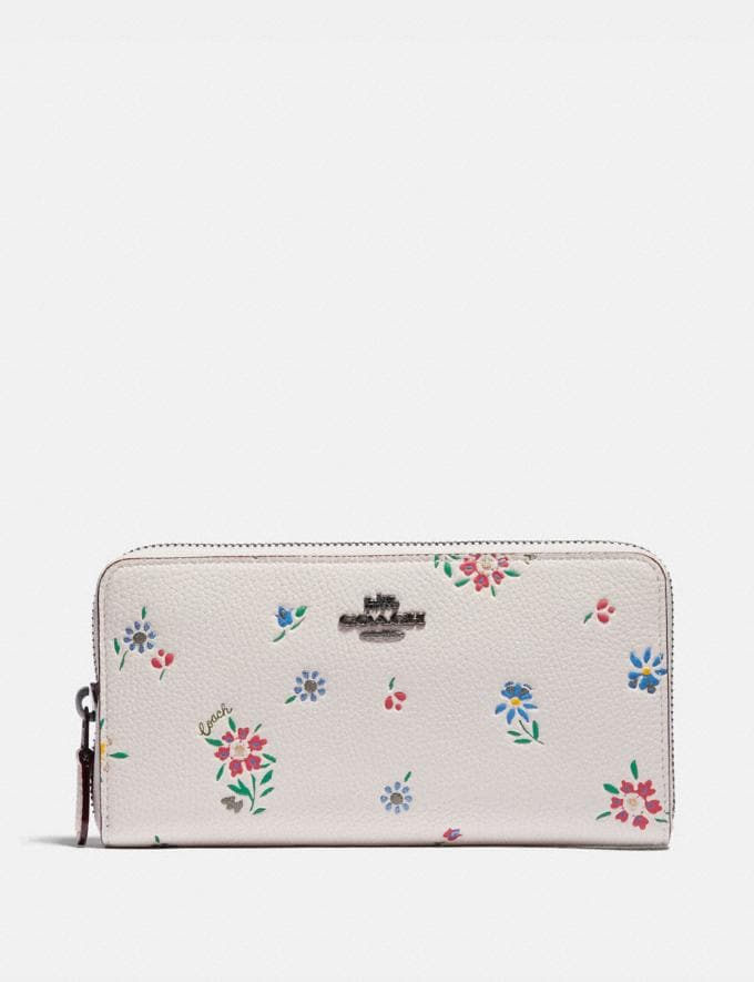 Coach Accordion Zip Wallet With Wildflower Print Pewter/Chalk Women Wallets & Wristlets Large Wallets