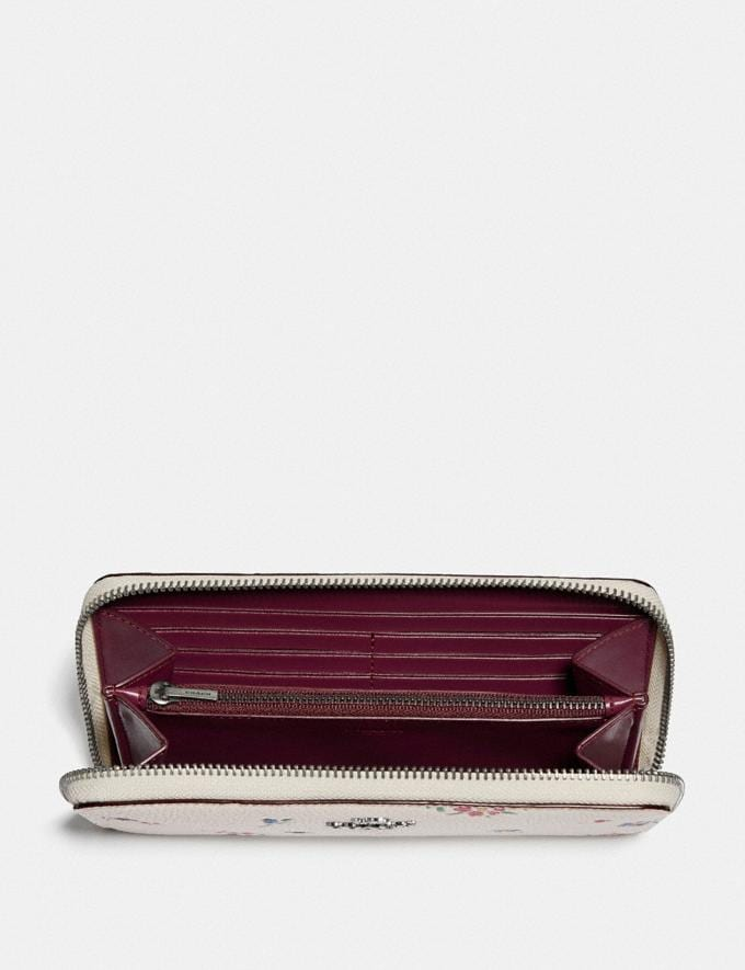 Coach Accordion Zip Wallet With Wildflower Print Pewter/Chalk Women Wallets & Wristlets Large Wallets Alternate View 1