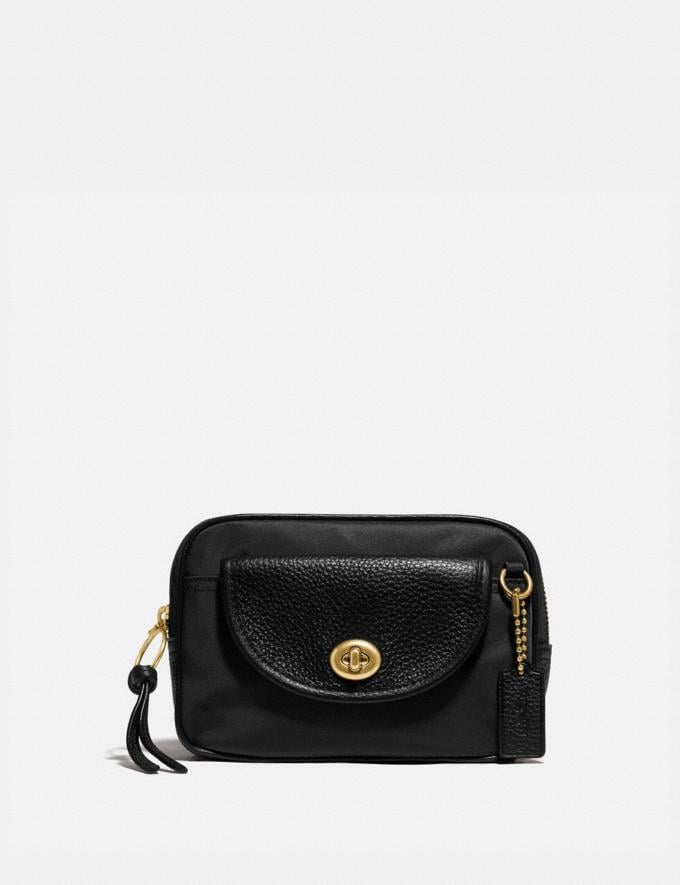 Coach Cargo Belt Bag Brass/Black Women Handbags Belt Bags