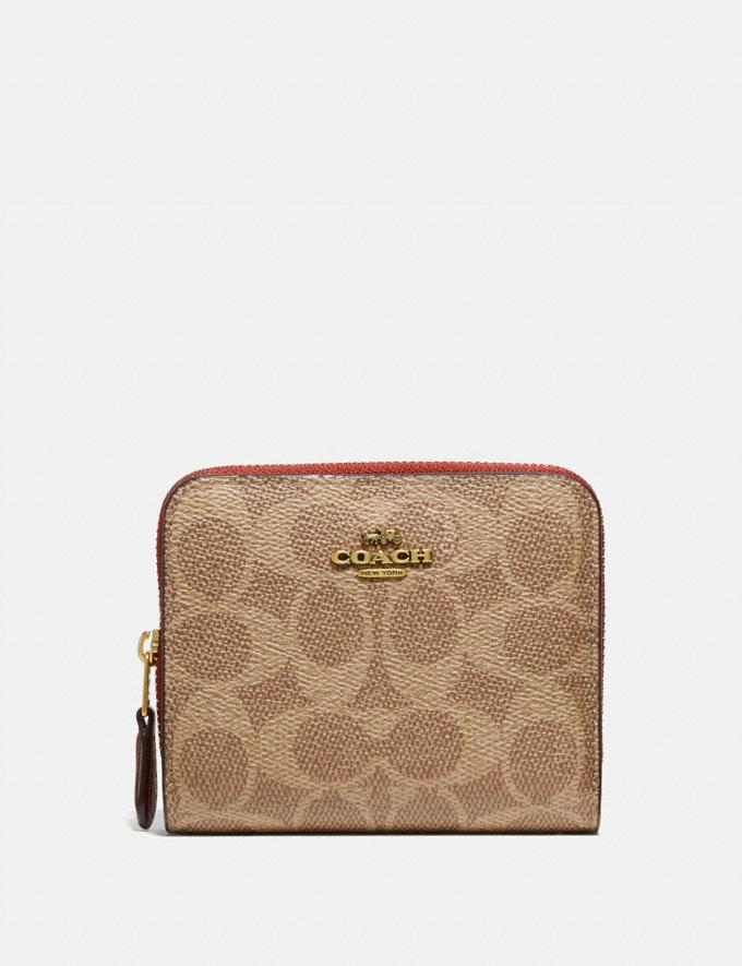 Coach Billfold Wallet in Signature Canvas Brass/Tan Rust Women Collection Signature