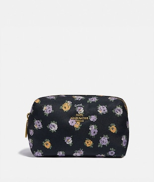 SMALL BOXY COSMETIC CASE WITH VINTAGE ROSE PRINT