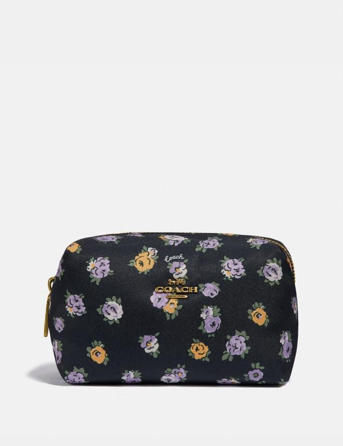Coach Small Boxy Cosmetic Case With Vintage Rose Print Brass/Midnight Navy Multi Women Accessories Cosmetic Cases