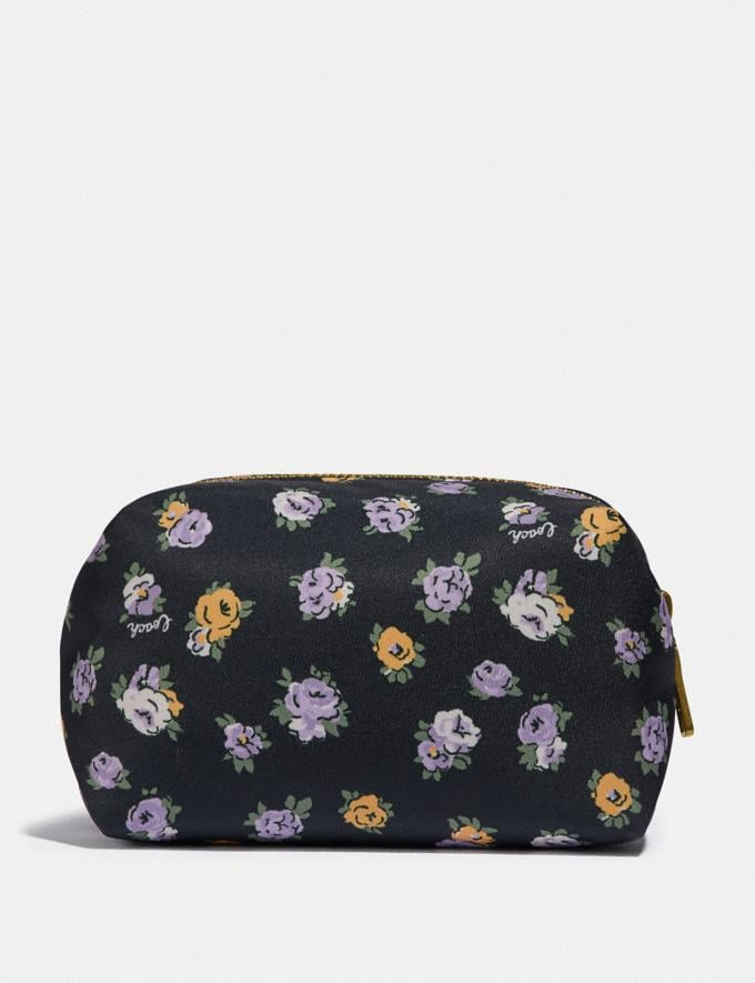 Coach Small Boxy Cosmetic Case With Vintage Rose Print Brass/Midnight Navy Multi Women Accessories Cosmetic Cases Alternate View 1