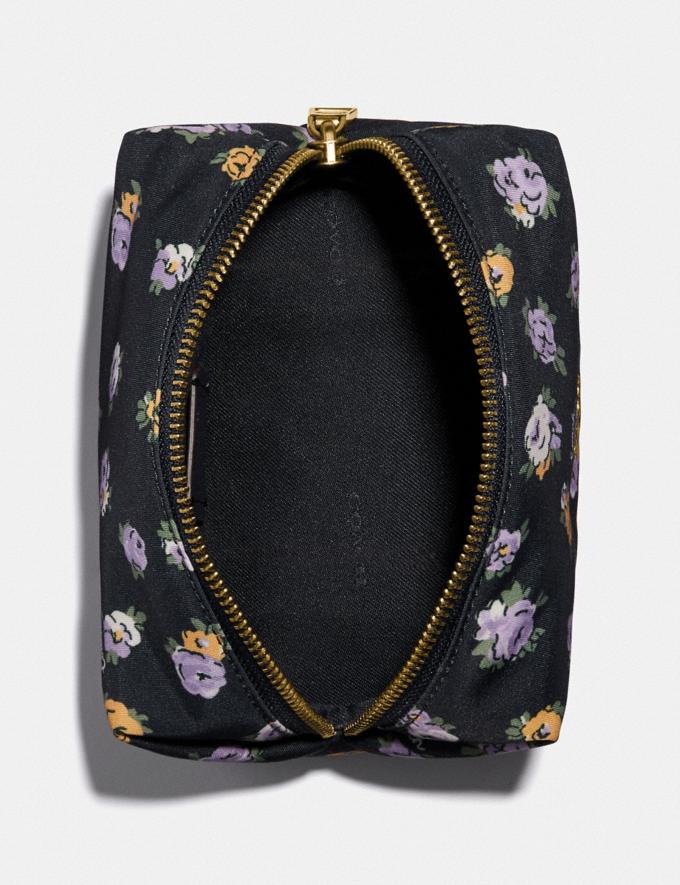 Coach Small Boxy Cosmetic Case With Vintage Rose Print Brass/Midnight Navy Multi Women Accessories Cosmetic Cases Alternate View 2
