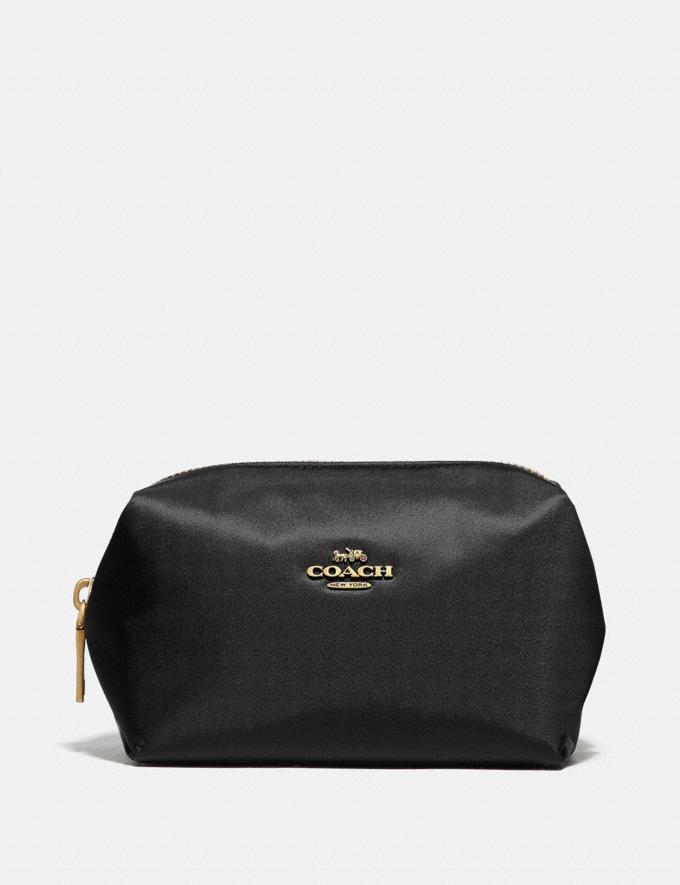 Coach Small Boxy Cosmetic Case Brass/Black New Women's New Arrivals Accessories
