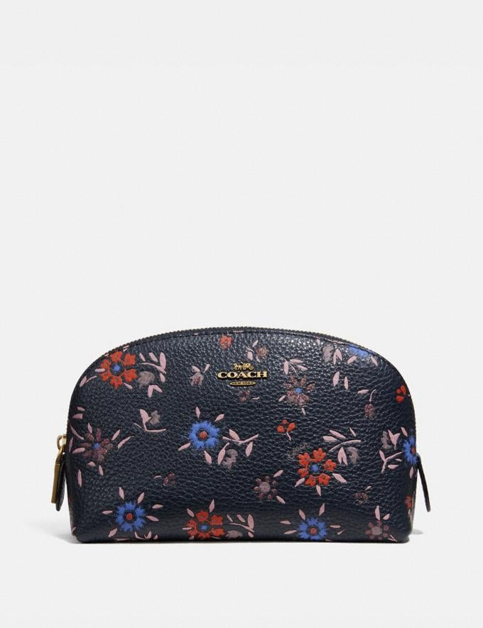 Coach Cosmetic Case 17 With Wildflower Print Brass/Midnight Navy Multi Women Accessories Cosmetic Cases