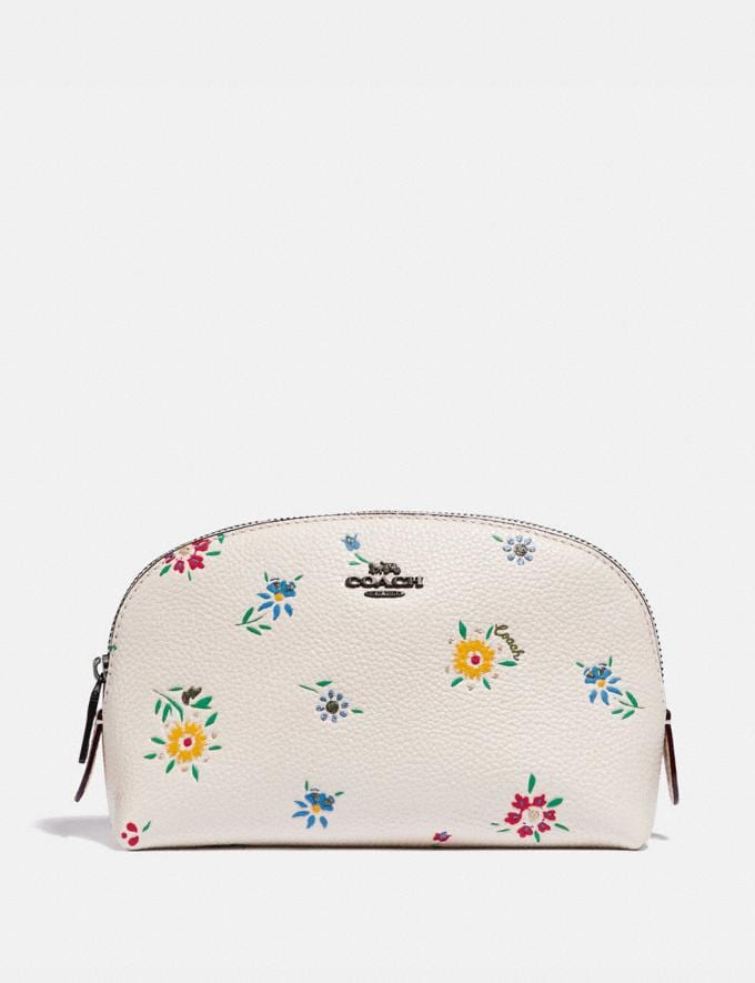 Coach Cosmetic Case 17 With Wildflower Print Pewter/Chalk New Women's New Arrivals Accessories
