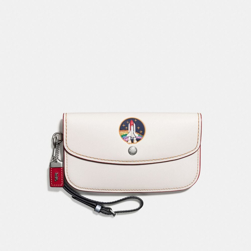 CLUTCH IN GLOVETANNED LEATHER WITH EMBOSSED ROCKET SHUTTLE