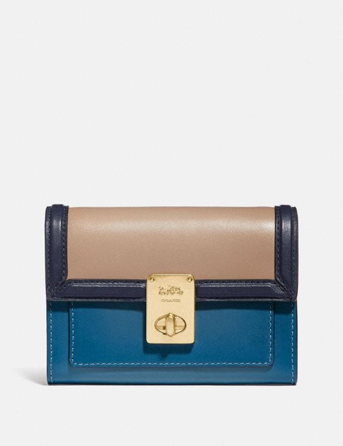 Coach Hutton Wallet in Colorblock B4/Lake Multi Women Small Leather Goods Small Wallets